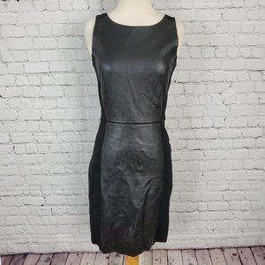 ICONE Black knit faux leather bodycon dress P S